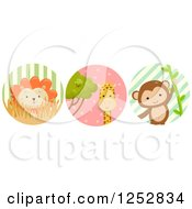Clipart Of A Cute Lion Giraffe And Monkey In Circles Royalty Free Vector Illustration