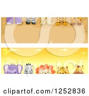 Clipart Of Website Borders Of Safari Animal Feet And Heads Royalty Free Vector Illustration
