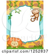 Clipart Of A Jungle Border With Stripes Giraffe Print A Monkey And Lion Royalty Free Vector Illustration by BNP Design Studio
