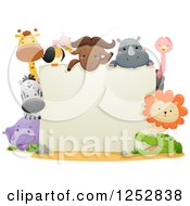 Clipart Of A Blank Sign With Cute Safari Animals Royalty Free Vector Illustration