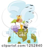 Clipart Of A Safari Earth With Cute Animals Royalty Free Vector Illustration