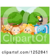 Clipart Of A Toucan Over A Safari Tiger Monkey Lion And Elephant Royalty Free Vector Illustration by BNP Design Studio
