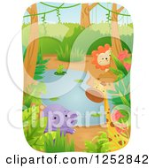 Clipart Of A Frog Elephant Giraffe And Lion Around A Jungle Pond Royalty Free Vector Illustration