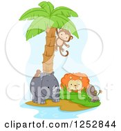 Monkey Swinging From A Palm Tree Over A Lion And Rhino