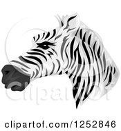 Clipart Of A Handsome Zebra Head In Profile Royalty Free Vector Illustration