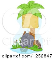 Clipart Of A Cute Rhino With Birds Under A Palm Tree Sign Royalty Free Vector Illustration by BNP Design Studio