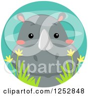 Clipart Of A Cute Rhinoceros In A Water Circle Royalty Free Vector Illustration