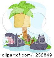 Clipart Of Safari Hippos With Birds Wading By A Palm Tree Sign Royalty Free Vector Illustration