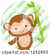 Clipart Of A Cute Monkey Swinging In A Stripe Circle Royalty Free Vector Illustration
