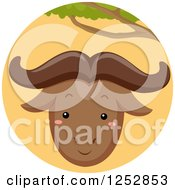 Clipart Of A Cute Wildebeest In An Orange Circle Royalty Free Vector Illustration