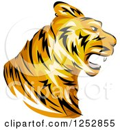 Clipart Of A Roaring Tiger Head In Profile Royalty Free Vector Illustration