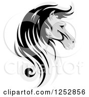 Clipart Of A Grayscale Horse Head In Profile Royalty Free Vector Illustration