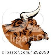 Clipart Of A Brown Bull In Profile Royalty Free Vector Illustration