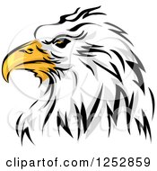 Clipart Of A Bald Eagle Head In Profile Royalty Free Vector Illustration