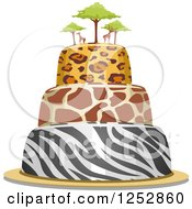 Clipart Of An Animal Print Safari Cake With Giraffes On Top Royalty Free Vector Illustration