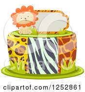 Clipart Of A Cute Lion And Sign On Top Of A Jungle Print Cake Royalty Free Vector Illustration