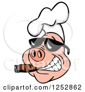 Clipart Of A Grinning Pig Smoking A Cigar And Wearing A Chef Hat And Sunglasses Royalty Free Vector Illustration by LaffToon
