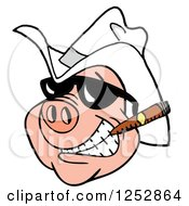 Clipart Of A Grinning Pig Smoking A Cigar And Wearing A Cowboy Hat Royalty Free Vector Illustration