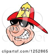 Grinning Pig Wearing Shades And A Red Fire Hat