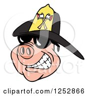 Smiling Pig Wearing Shades And A Black Fire Hat