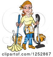 Clipart Of A Brunette Caucasian Housekeeper Woman Mopping And Vacuuming Royalty Free Vector Illustration