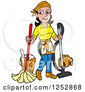 Clipart Of A Black Haired Caucasian Housekeeper Woman Mopping And Vacuuming Royalty Free Vector Illustration