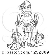 Clipart Of A Black And White Housekeeper Woman Mopping And Vacuuming Royalty Free Vector Illustration