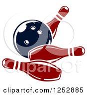 Clipart Of A Bowling Ball Crashing Into Pins Royalty Free Vector Illustration