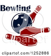 Clipart Of A Ball Smashing Into Pins With Bowling Text Royalty Free Vector Illustration