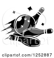 Clipart Of A Black And White Bowling Ball Smashing Into Pins Royalty Free Vector Illustration by Vector Tradition SM