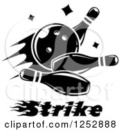 Clipart Of A Black And White Bowling Ball Smashing Into Pins With Strike Text Royalty Free Vector Illustration