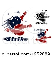 Clipart Of Bowling Balls Smashing Into Pins With Text Royalty Free Vector Illustration