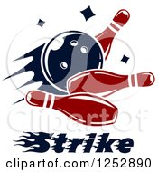 Clipart Of A Bowling Ball Smashing Into Pins With Strike Text Royalty Free Vector Illustration