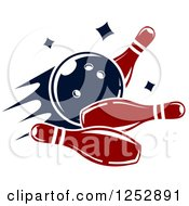 Clipart Of A Bowling Ball Smashing Into Pins Royalty Free Vector Illustration