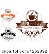 Clipart Of Coffee Always Fresh Designs Royalty Free Vector Illustration