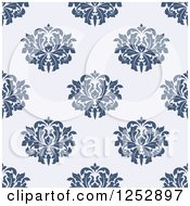 Clipart Of A Seamless Background Pattern Of Damask Floral On Blue Royalty Free Vector Illustration