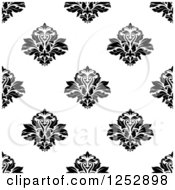 Clipart Of A Seamless Background Pattern Of Damask Floral In Black And White Royalty Free Vector Illustration
