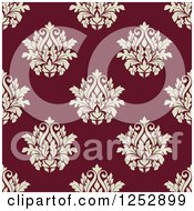 Clipart Of A Seamless Background Pattern Of Damask Floral On Maroon Royalty Free Vector Illustration