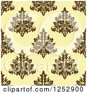 Clipart Of A Seamless Background Pattern Of Damask Floral On Yellow Royalty Free Vector Illustration