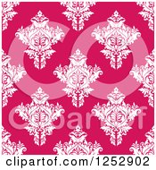 Clipart Of A Seamless Background Pattern Of Damask Floral On Pink Royalty Free Vector Illustration