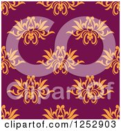 Clipart Of A Seamless Background Pattern Of Orange Flowers On Purple Royalty Free Vector Illustration