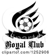 Clipart Of A Black And White Soccer Ball Over A Wing And Banner Over Royal Club Text Royalty Free Vector Illustration