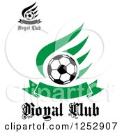 Clipart Of Soccer Balls Wings And Banners With Royal Club Text Royalty Free Vector Illustration