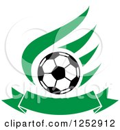 Clipart Of A Soccer Ball Over A Green Wing And Banner Royalty Free Vector Illustration by Vector Tradition SM