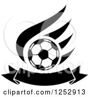 Clipart Of A Black And White Soccer Ball Over A Wing And Banner Royalty Free Vector Illustration
