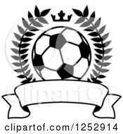 Clipart Of A Black And White Crown And Wreath Around A Soccer Ball And Red Banner Royalty Free Vector Illustration