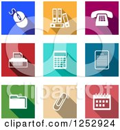 Clipart Of Colorful Square Office Item Icons Royalty Free Vector Illustration by Vector Tradition SM