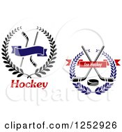 Clipart Of Hockey Stick Wreaths Royalty Free Vector Illustration
