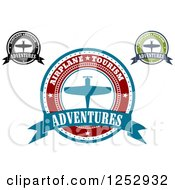 Clipart Of Airline Tours Adventures Labels 2 Royalty Free Vector Illustration