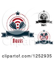 Clipart Of Stars And Dots Around Banners Targets And Throwing Darts Royalty Free Vector Illustration